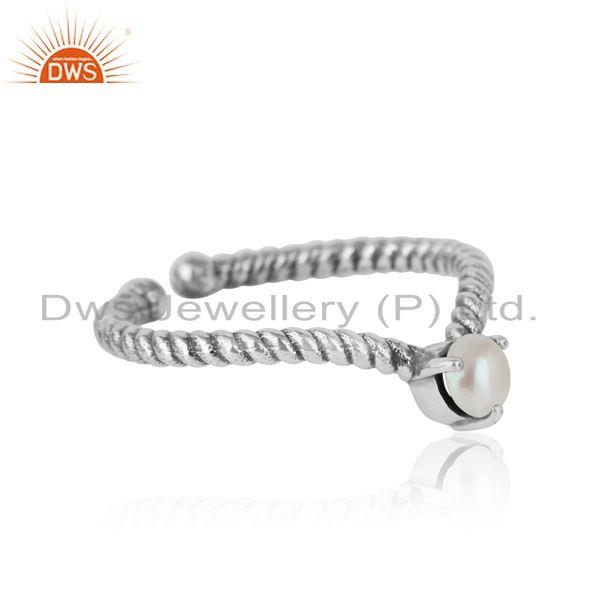Designer of pearl dainty designer twisted ring in oxidized silver 925