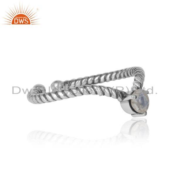 Designer of Rainbow moonstone dainty designer twisted ring in oxidized silver