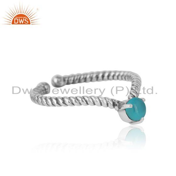 Designer of arizona turquoise dainty designer twisted ring in oxidized silver