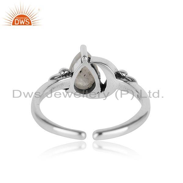 Designer of Designer oxidised silver 925 moon ring with rainbow moonstone