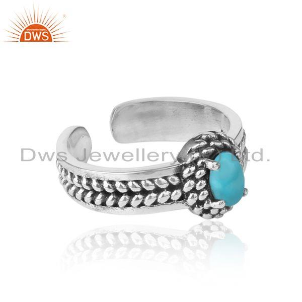 Designer of Arizona turquoise handcrafted designer ring in oxidized silver 925
