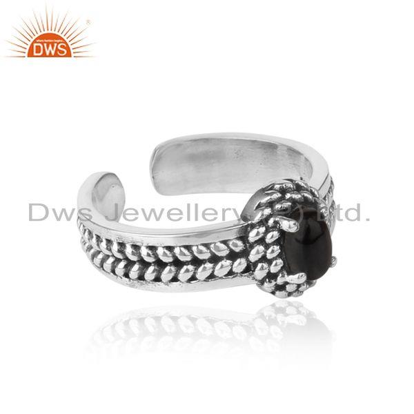 Designer of Black onyx handcrafted designer ring in oxidized silver 925