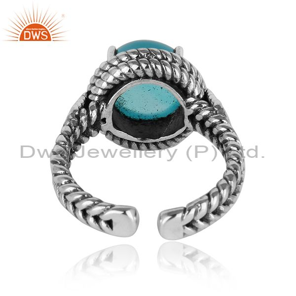 Designer of Twisted handmade ring in oxidised silver 925 with aqua chalcedony