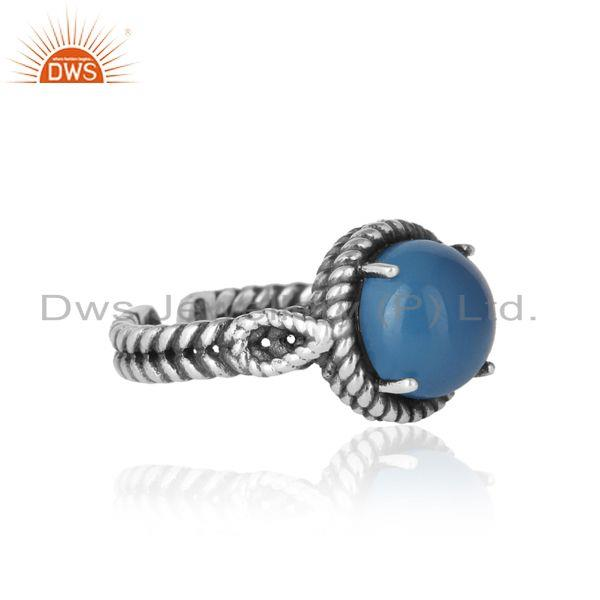 Designer of Twisted designer bold blue chacedony ring in oxidized silver 925