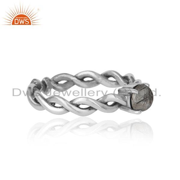 Designer of Dainty twisted ring in oxidized silver 925 with black rutile