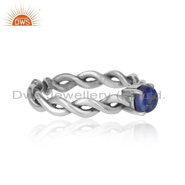 Designer of Dainty twisted ring in oxidized silver 925 with natural lapis