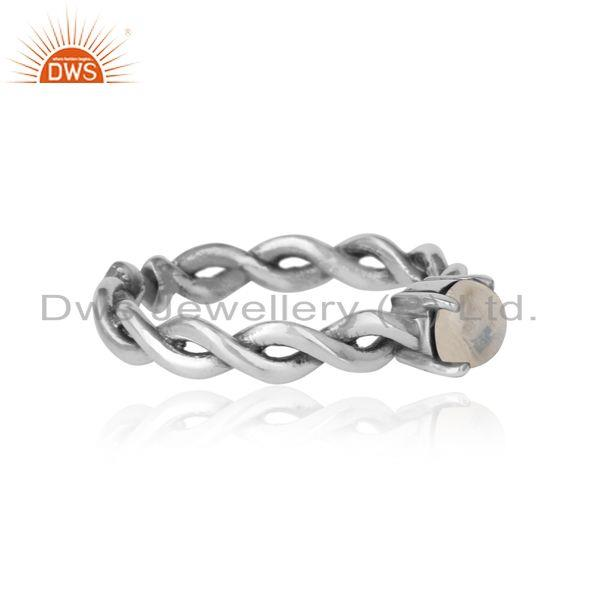 Designer of Dainty twisted ring in oxidized silver 925 with rainbow moonstone