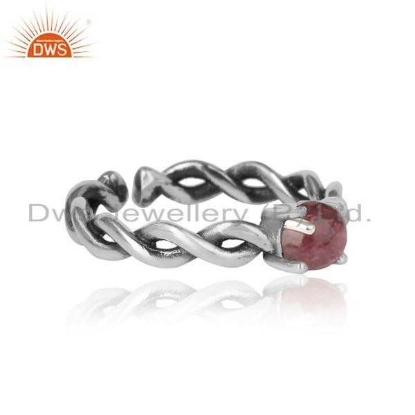 Designer of Dainty twisted ring in oxidized silver 925 with pink tourmaline