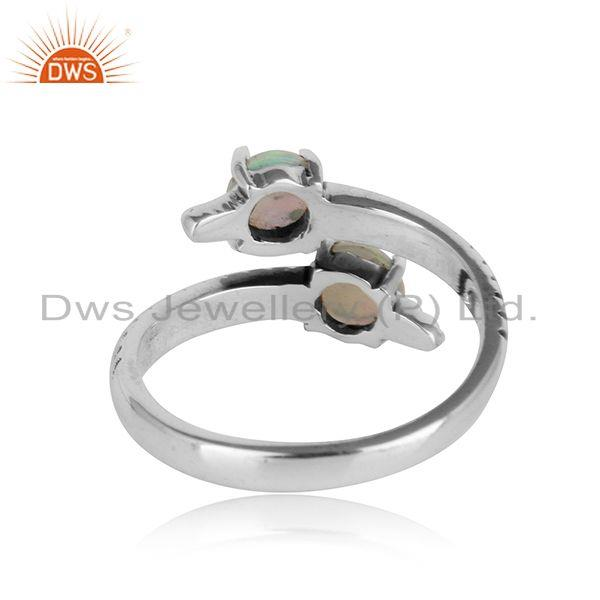 Designer of Handmade bypass ring in oxidised silver 925 and ethiopian opal