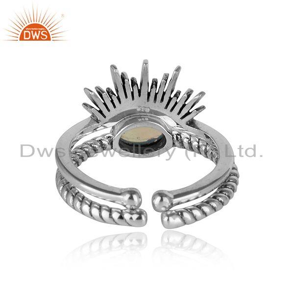 Designer of Designer boho ring in oxidise silver 925 with ethiopian opal