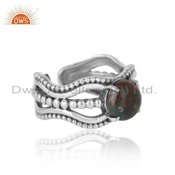 Designer of Bold handmade silver ring in oxidized finish with blood stone