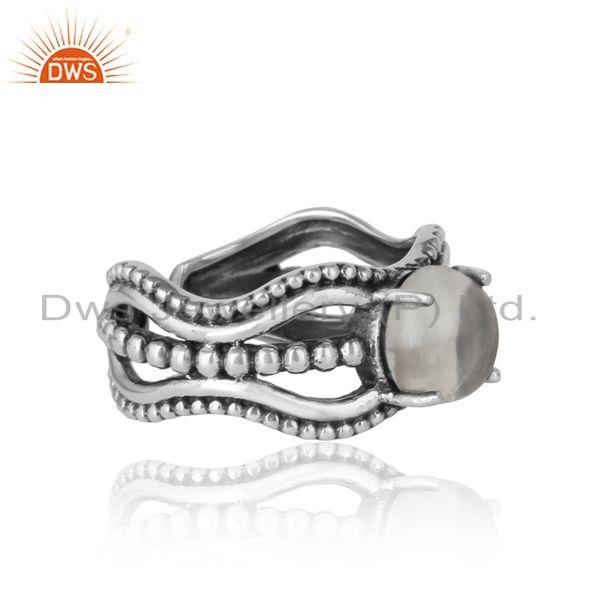 Designer of Bold handmade silver ring in oxidized finish with crystal quartz