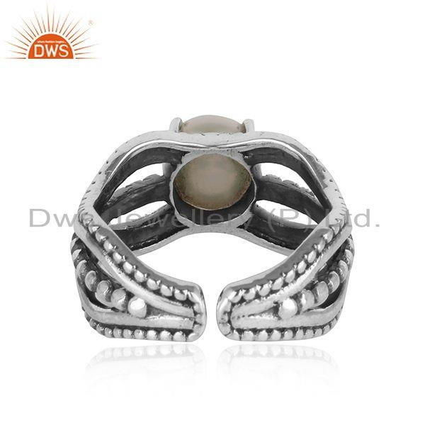 Designer of Bold handmade silver ring in oxidised finish with adorable pearl