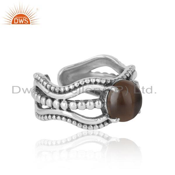 Designer of Bold handmade silver ring in oxidized finish with smoky
