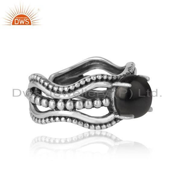 Designer of Bold handmade silver ring in oxidized finish with black onyx