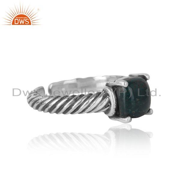 Designer of Handcrafted twisted bold ring in oxidized silver 925 blood stone