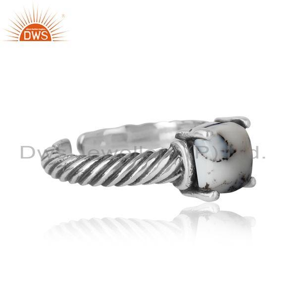 Designer of Handcrafted twisted bold ring in oxidized silver 925 and dendrite