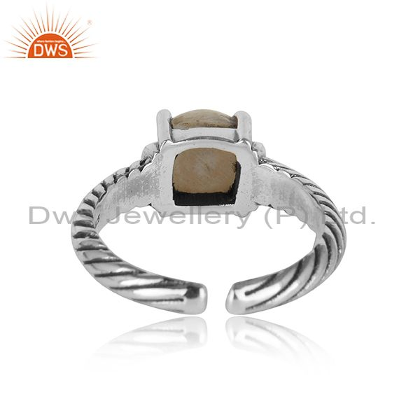 Designer of Handcrafted twisted bold ring in oxidised silver 925 and pearl