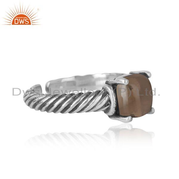Designer of Handcrafted twisted bold ring in oxidized silver 925 and smoky