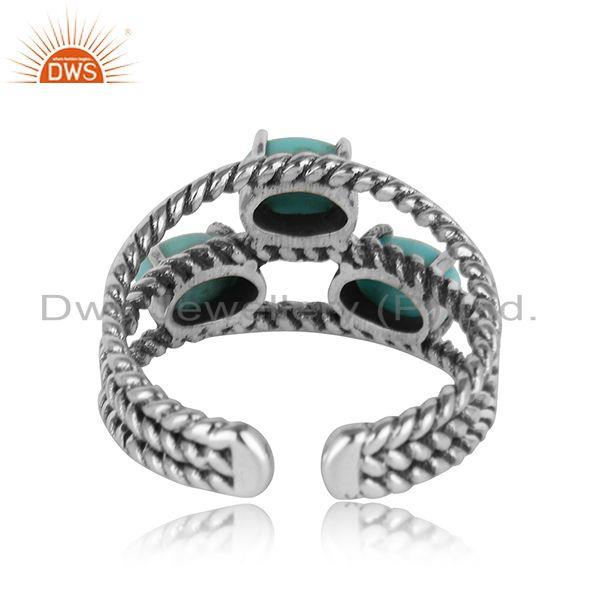 Designer of Oxidised twisted silver 3 stone ring with arizona turquiose