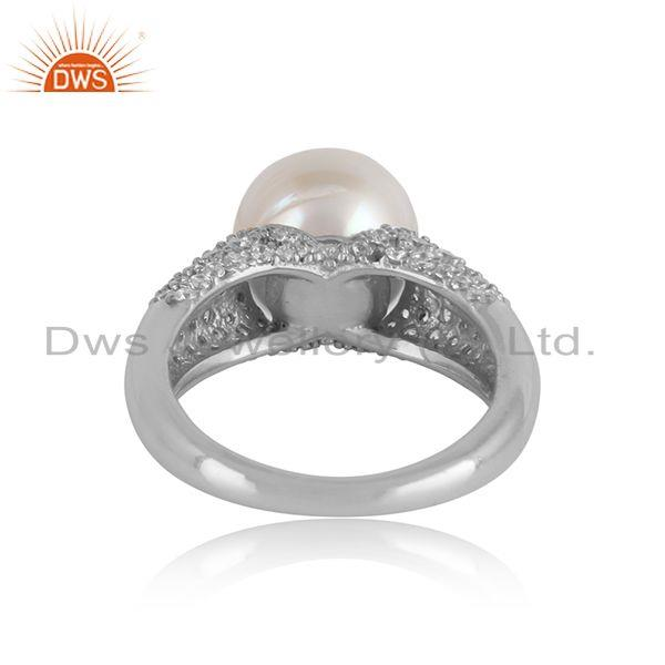 Designer of White rhodium plated silver zircon pearl gemstone girls rings