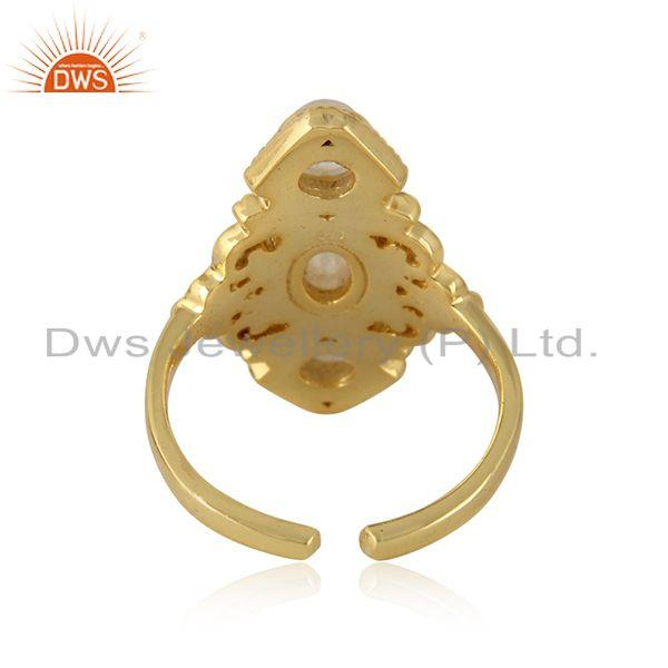 Designer of Bohemian ring in yellow gold on silver 925 and rainbow moonstone