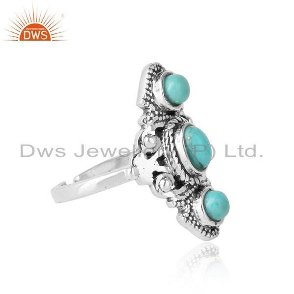 Designer of Bohemian style ring in oxidised silver with arizona turquoise