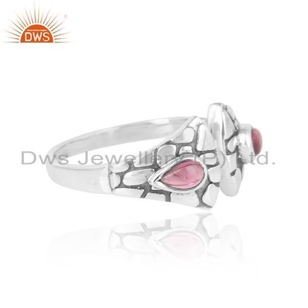 Designer of Textured ring in oxidized silver adorn with pink tourmaline