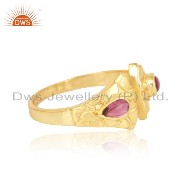 Designer of Textured ring in yellow gold on silver adorn with pink tourmaline