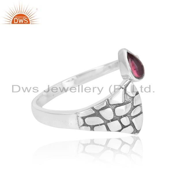 Designer of Dainty textured ring in oxidized silver with pink tourmaline