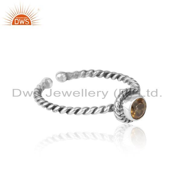 Designer of Citrine twisted handmade designer ring in oxidized silver 925