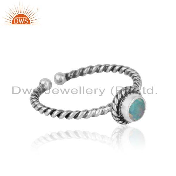 Designer of Ethiopian opal twisted handmade designer ring in oxidized silver