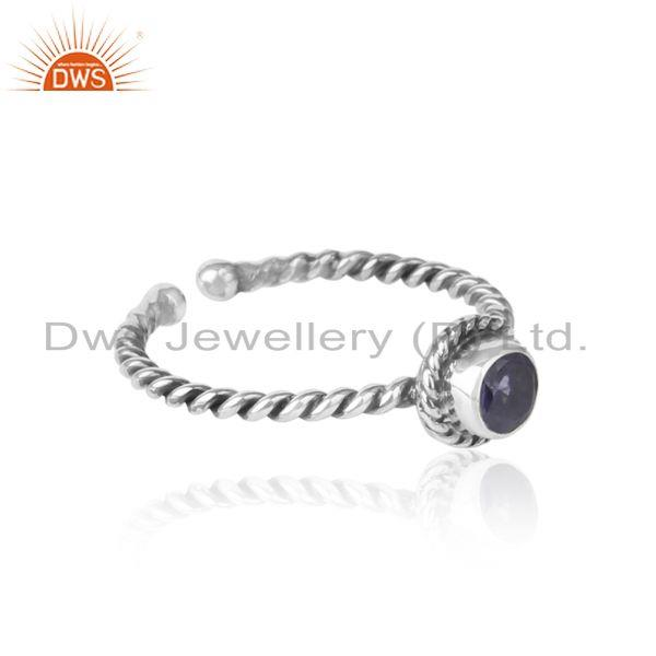 Designer of Iolite twisted handmade designer ring in oxidized silver 925