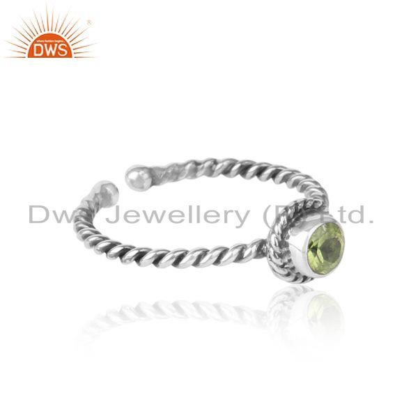 Designer of Peridot twisted handmade designer ring in oxidized silver 925