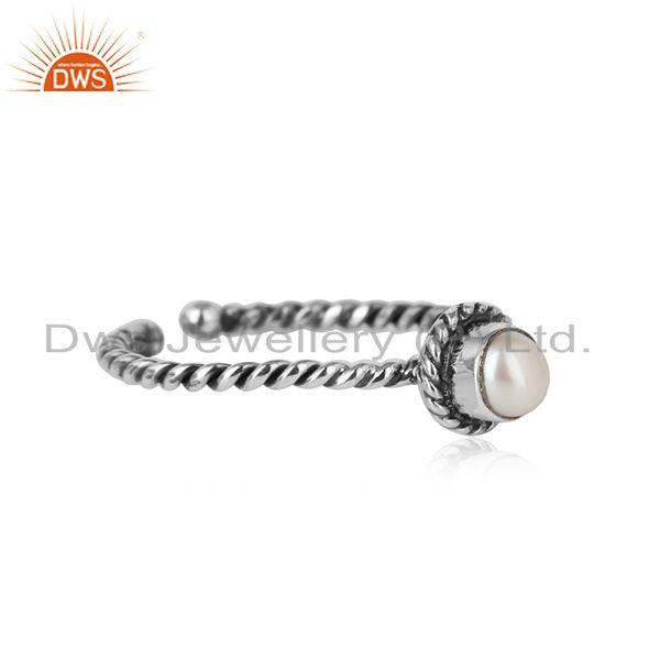Designer of Pearl twisted handmade designer ring in oxidized silver 925