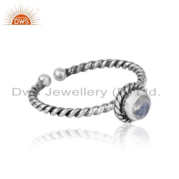 Designer of Rainbow moonstone twisted handmade designer ring in oxidized silver