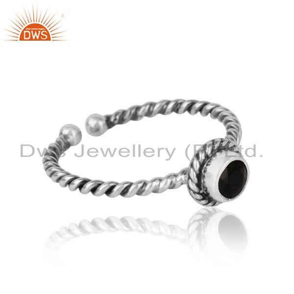Designer of Black onyx twisted handmade designer ring in oxidized silver 925