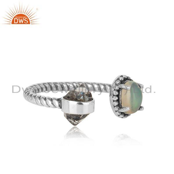 Designer of Designer herkimer diamond ring in solid silver with ethiopian opal