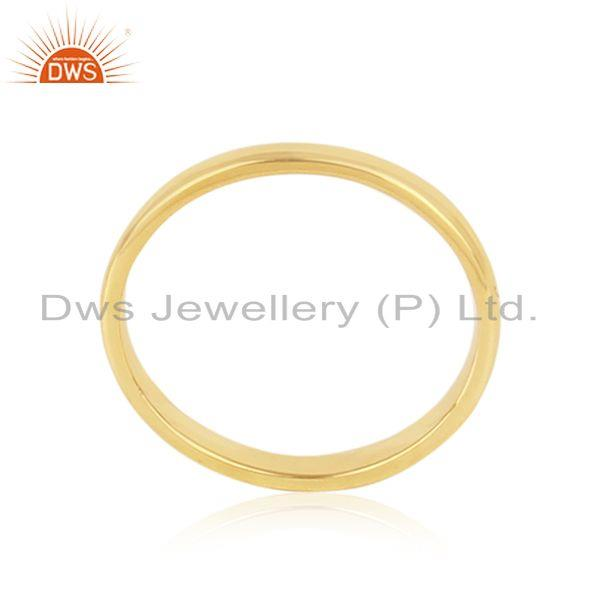 Designer of Classic plain band ring in yellow gold on silver 925