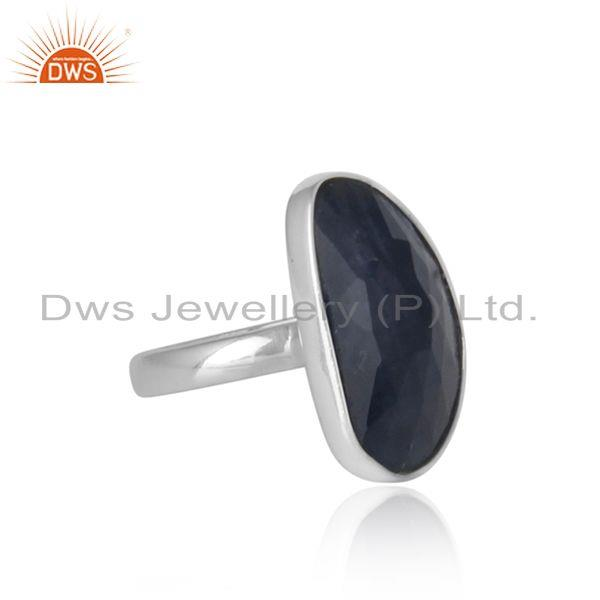 Designer of Handmade organic shape blue sapphire ring in solid silver 925