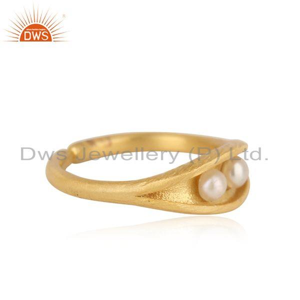 Designer of Designer seedpod dainty ring in yellow gold on silver and pearl
