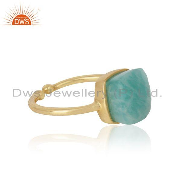 Designer of Handmade solitaire ring in yellow gold on silver 925 and amazonite