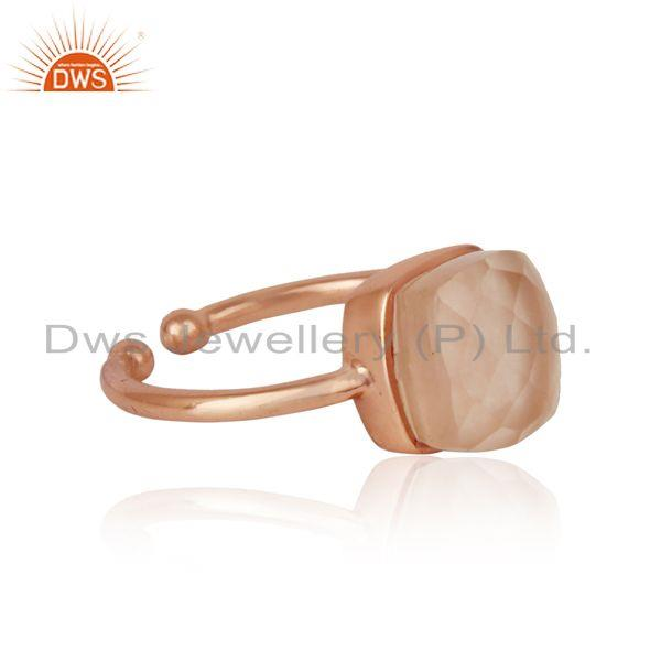 Designer of Handmade solitaire ring in rose gold on silver 925 and rose quartz