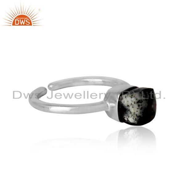 Designer of Handmade solitaire ring in white rhodium on silver and dendrite