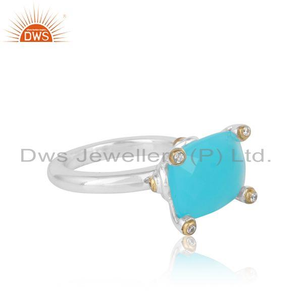 Designer of Designer prong bold ring in gold on silver with aqua chalcedony