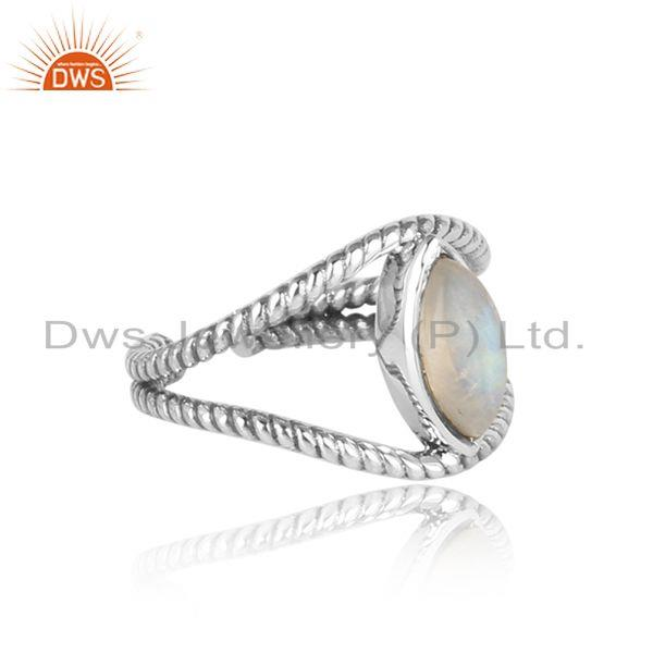 Designer of Twisted designer rainbow moonstone ring in oxidized silver 925