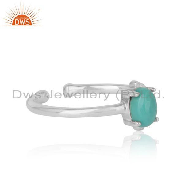 Designer of Handcrafted dainty ring in silver 925 with arizona turquoise