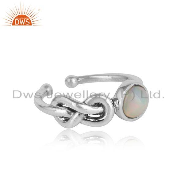 Designer of Designer knot ring in oxidized silver 925 with ethiopial opal