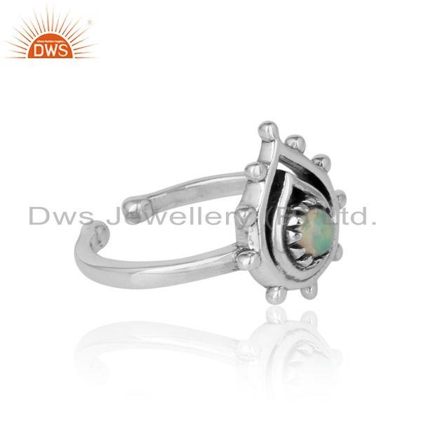 Designer of Handcrafted designer ring in oxidized silver 925 and ethiopian opal