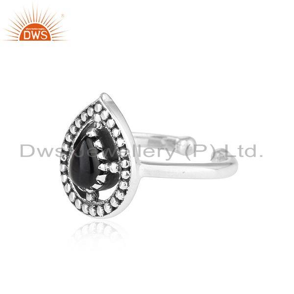 Designer of Designer dainty oxidized silver 925 ring with black onyx